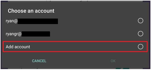 Adding a google account