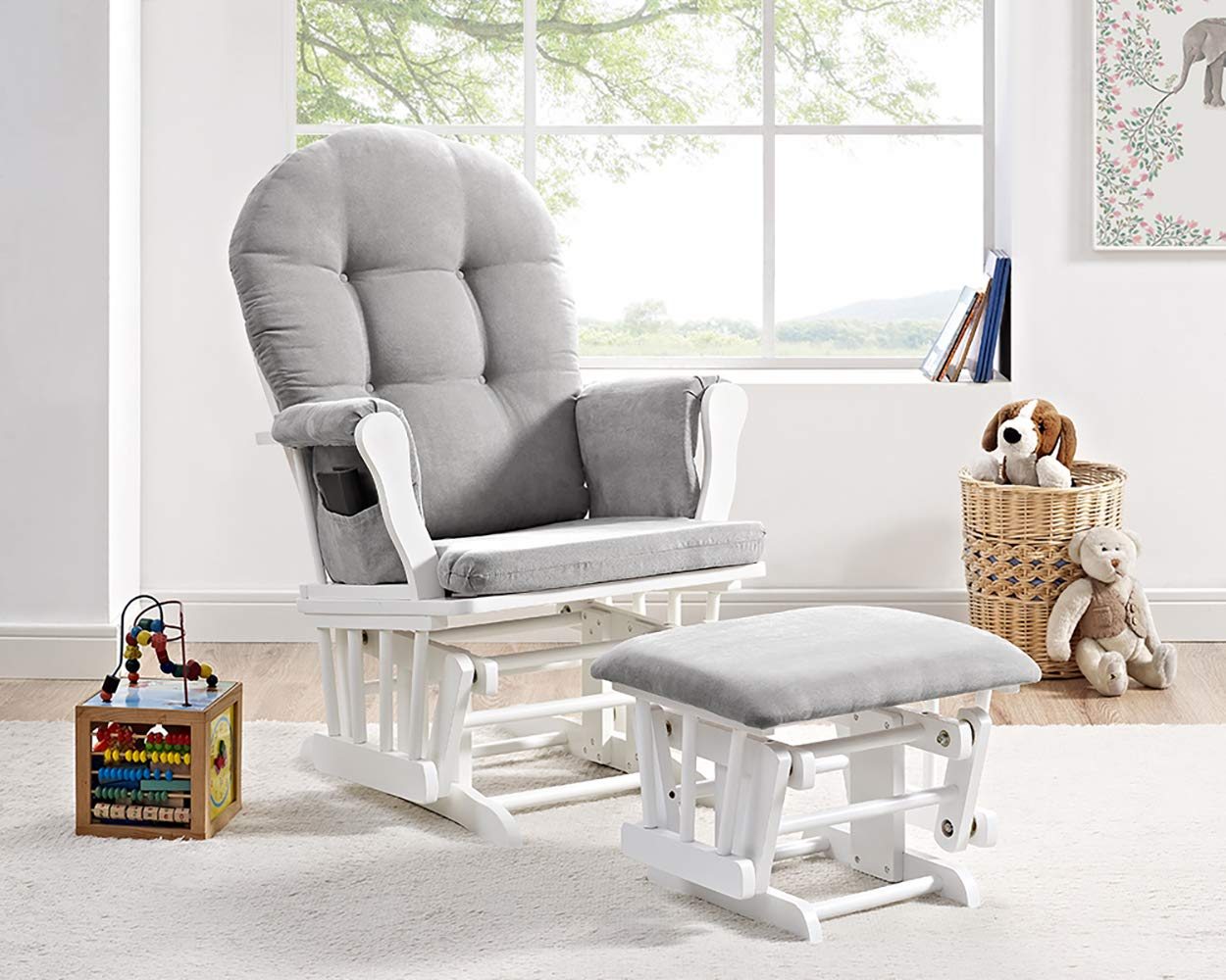 baby nursery checklist: Windsor Glider and Ottoman, White with Gray Cushion