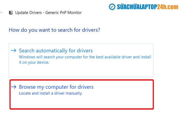Chọn cài Driver từ máy tính