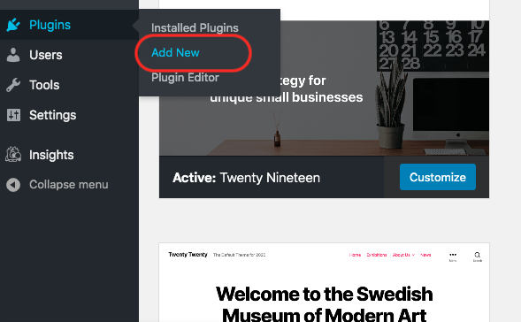 Add plugin WordPress