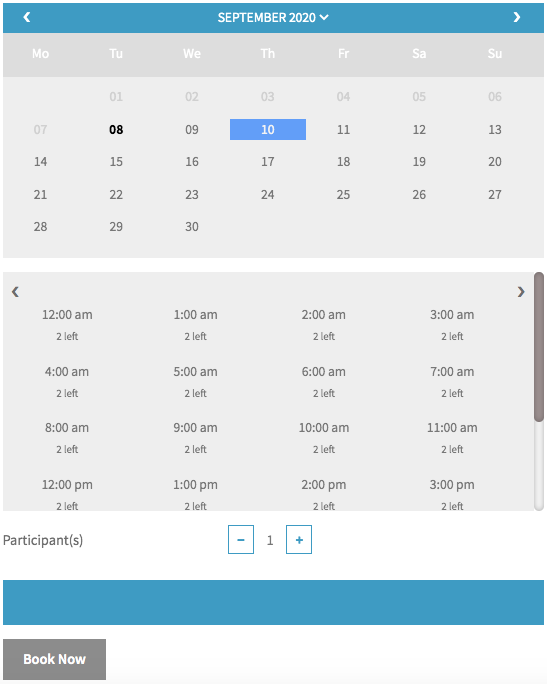 bookings calendar with maximum bookable slots as 2