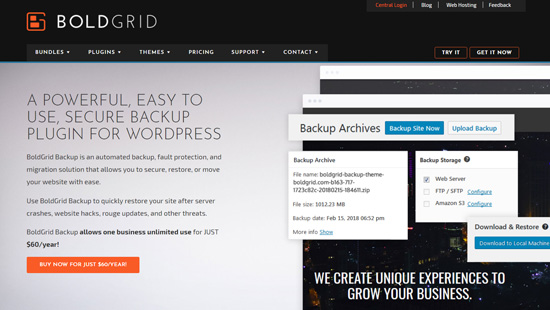 BoldGrid Backup WordPress plugin
