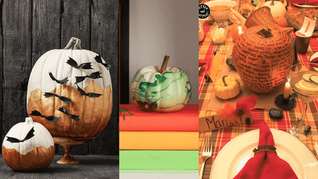 family Halloween activities - decorate pumpkins three different ways