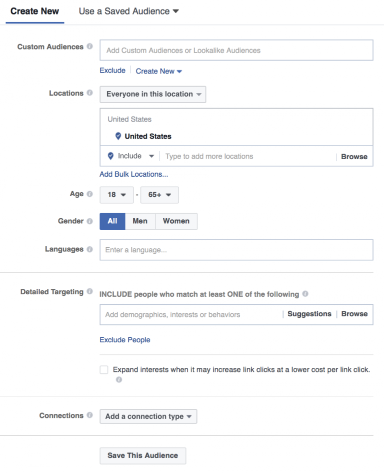 creating new audience on facebook.