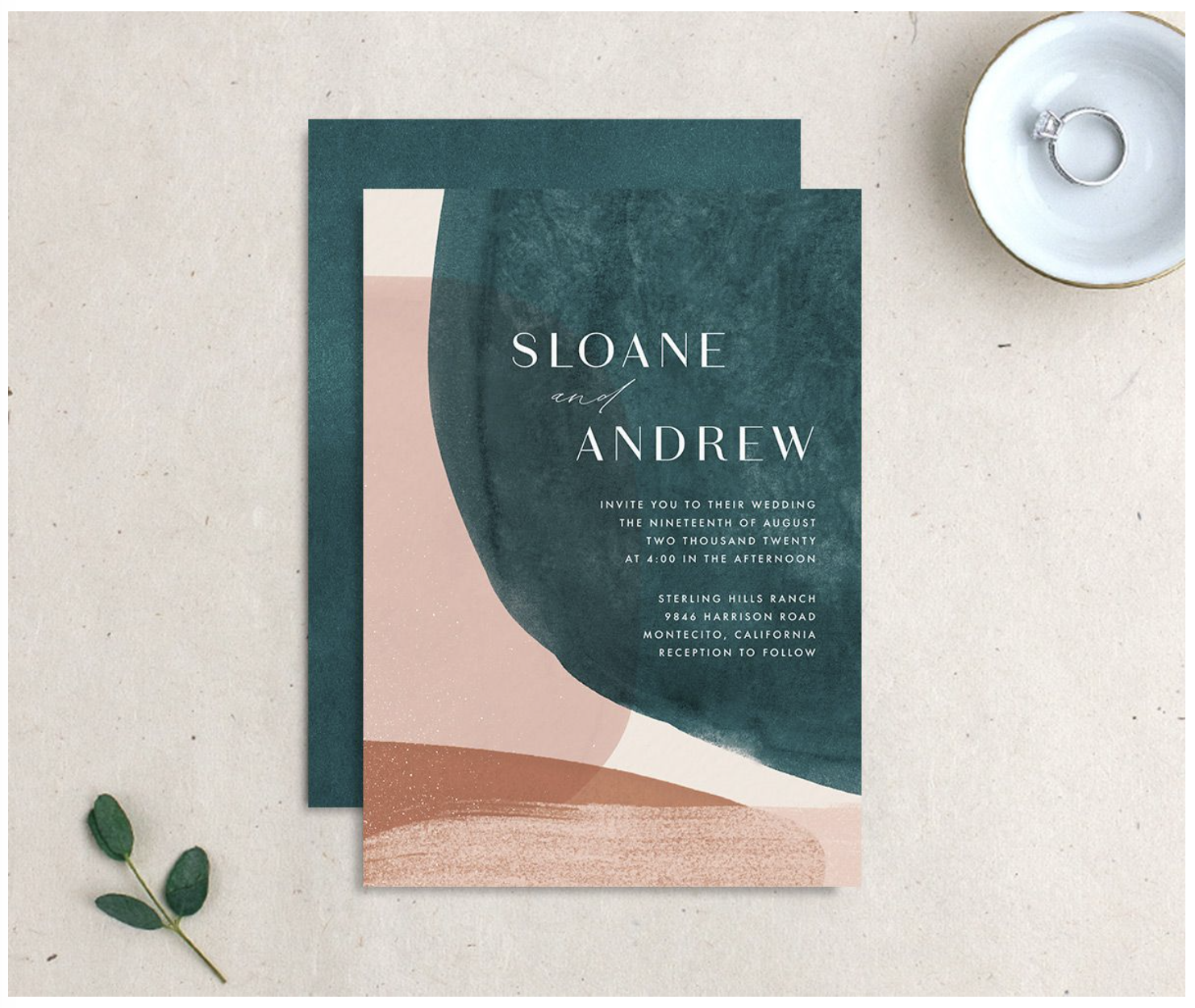 color blocking modern wedding invitation