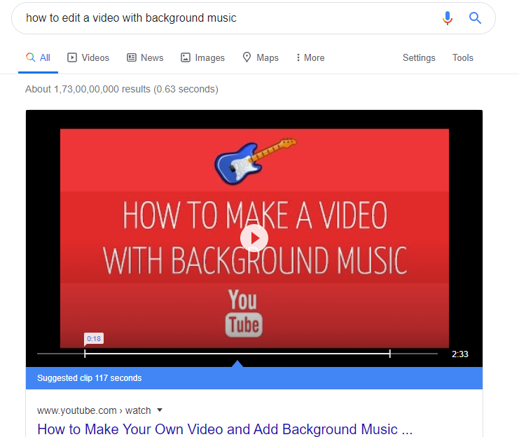 featured snippet a video result