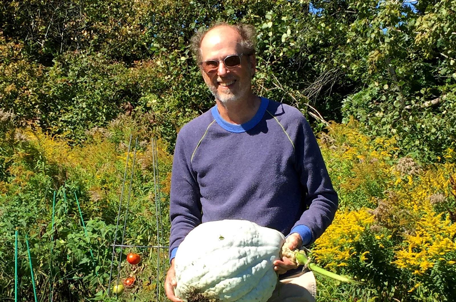 Art Baur in his vegetable garden