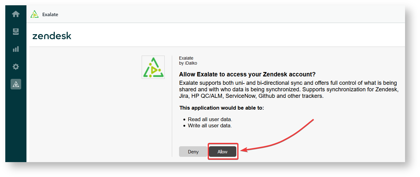 allow access to exalate for Zendesk