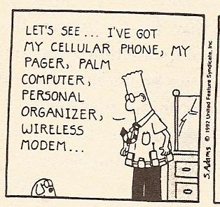 Cartoon showing Dilbert running down his wearable checklist.