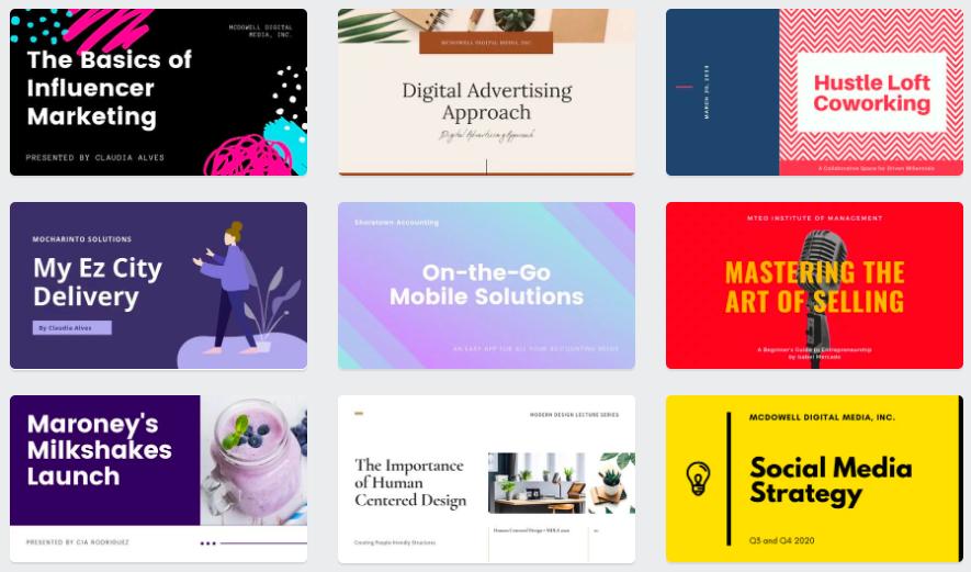 canva's marketing presentation templates