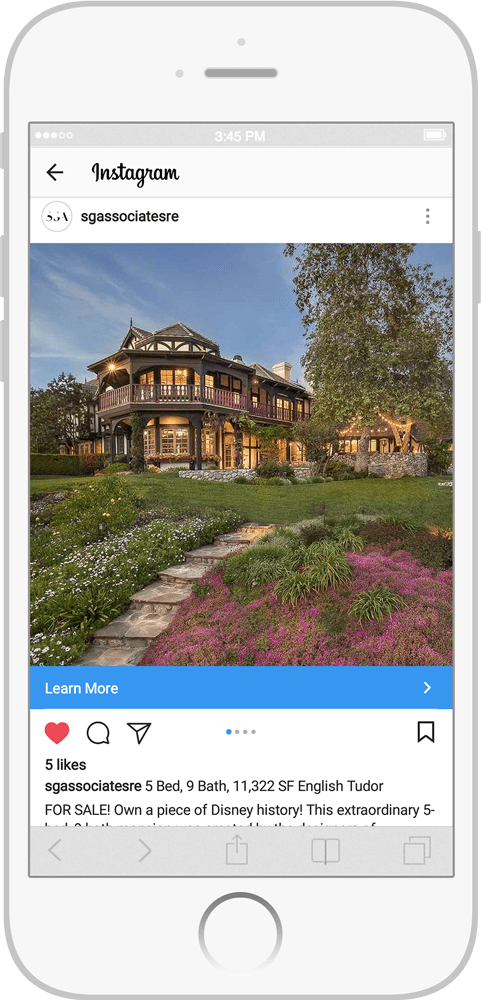 Instagram ad example for real estate marketers