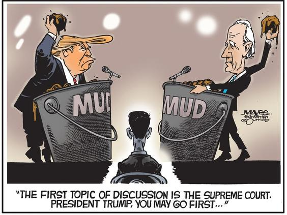 UPLOADED BY: Malcolm Mayes ::: EMAIL: letters@edmontonjournal.com ::: PHONE: 000-000-0000 ::: CREDIT: Malcolm Mayes ::: CAPTION: For Edmonton Journal use only.    Debaters Donald Trump and Joe Biden revert to mudslinging. (Cartoon by Malcolm Mayes)