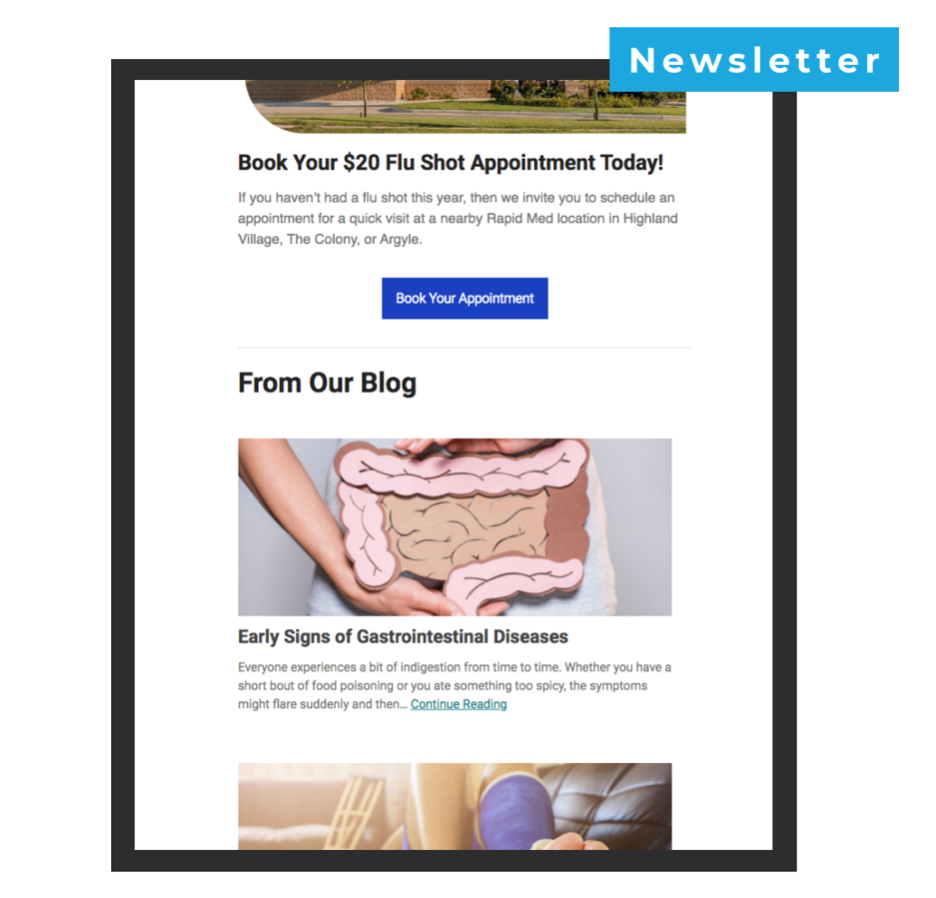 Urgent Care e-newsletter example