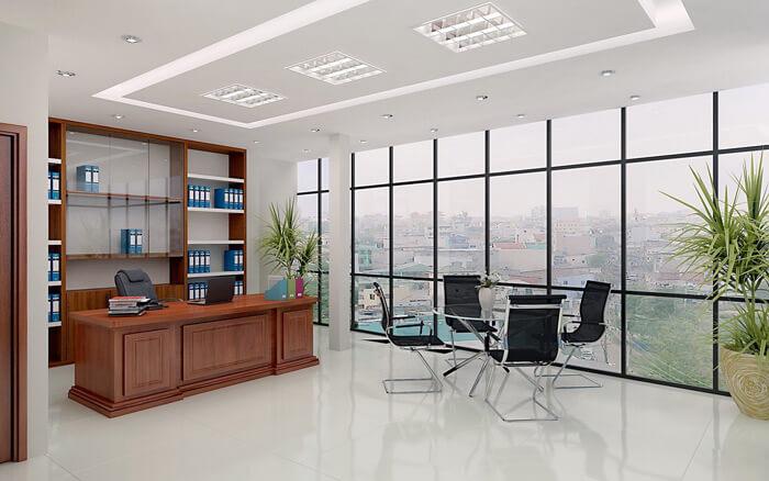 thiết kế không gian văn phòng làm việc của lãnh đạo