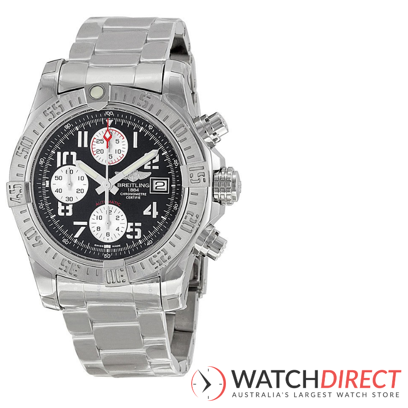 Breitling Avenger II Black Dial Chronograph Stainless Steel Automatic Men's Watch available through Watch Direct.