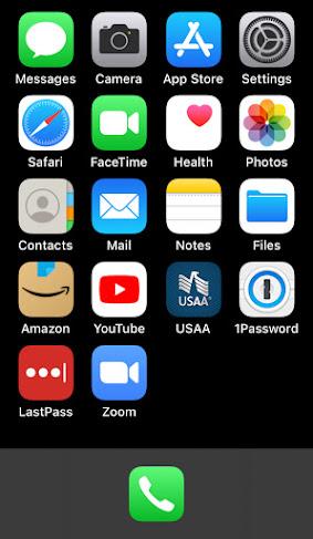 basic iPhone home screen