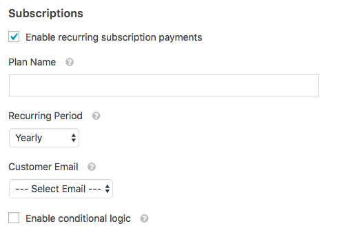 Enable recurring subscription payments