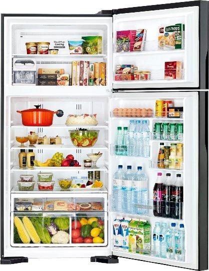 Холодильник Hitachi R-V660PUC7BSL с продуктами