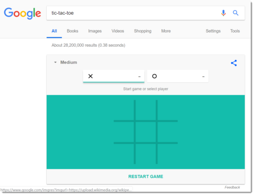 Google Easter egg: tic-tac-toe
