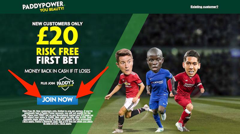 Claim Paddy Power £20 Risk-Free Bet.