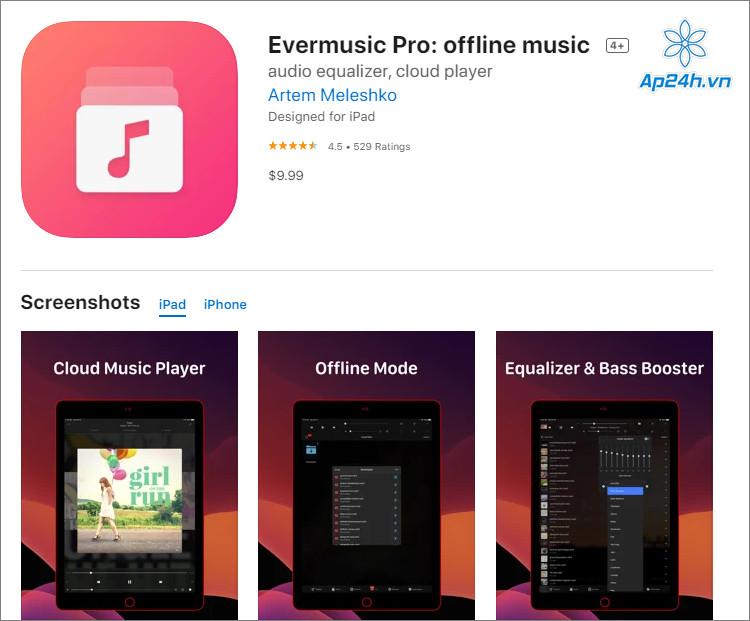 Bạn có thể nghe nhạc trực tuyến với Evermusic Pro