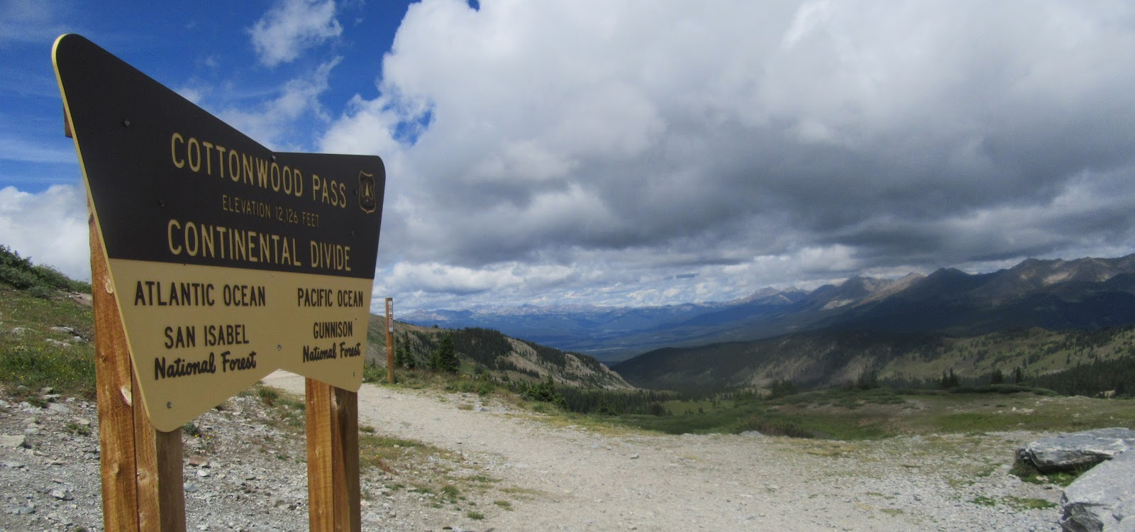 Bike climb to Cottonwood Pass - Continental Divide sign.