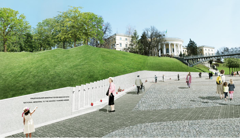 """Центральним місцем меморіалу стане стела пам'яті з іменами Героїв Небесної Сотні, нанесеними на дошки-щити, які буде розміщено """"пліч-о-пліч"""". Окрім того, за цим проектом буде створено зигзагоподібну алею та сад і збережено прострілені стовпи, капличку, хрест та народний меморіал із бруківки"""