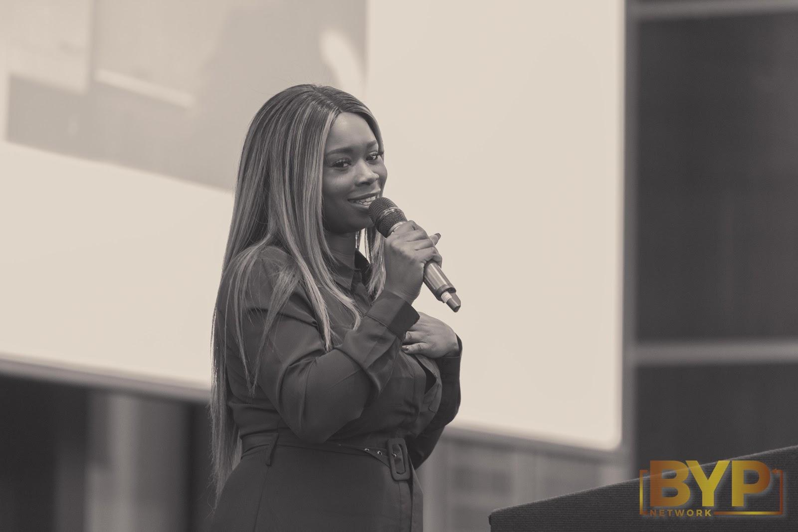 BYP Network founder, Kiki Oninwinde talks on stage.