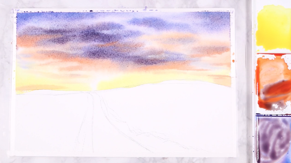 The beginning stages of watercolor landscapes