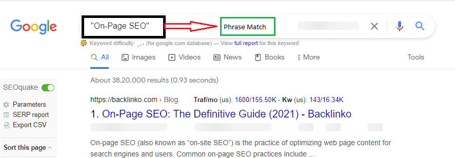 This image shows how to use Phrase match to get search results quickly