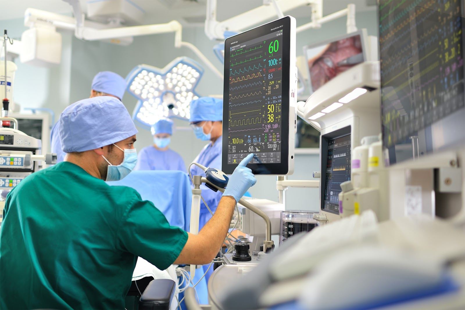 doctor checking operating status