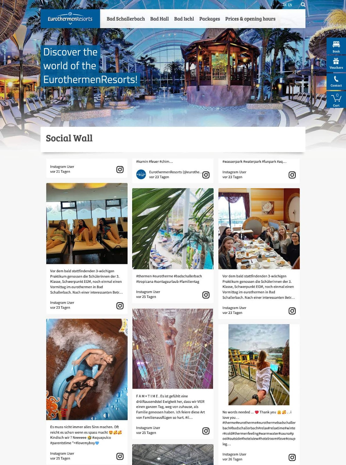 Screenshot of Eurotherme's social media wall. The image shows different photos from guests enjoying the facilities.