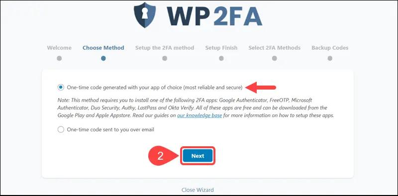 secure WordPress site - WP2FA
