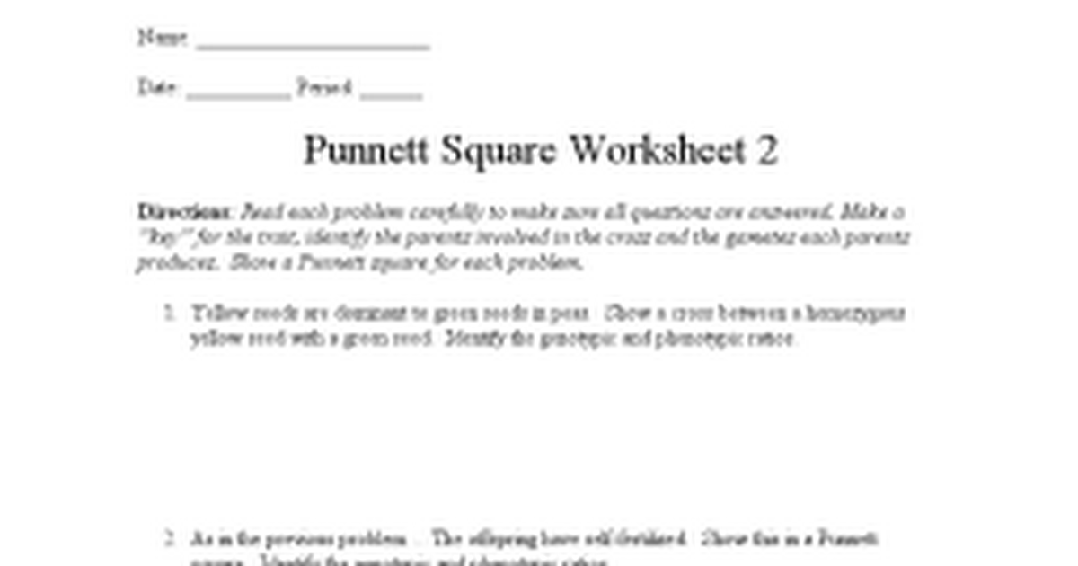 Punnett Square Worksheet 2 Answer Key humorholics – Punnett Square Worksheet 1 Answers