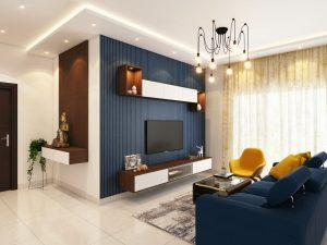 Living room with blue wall, blue couch, and a lot of lights