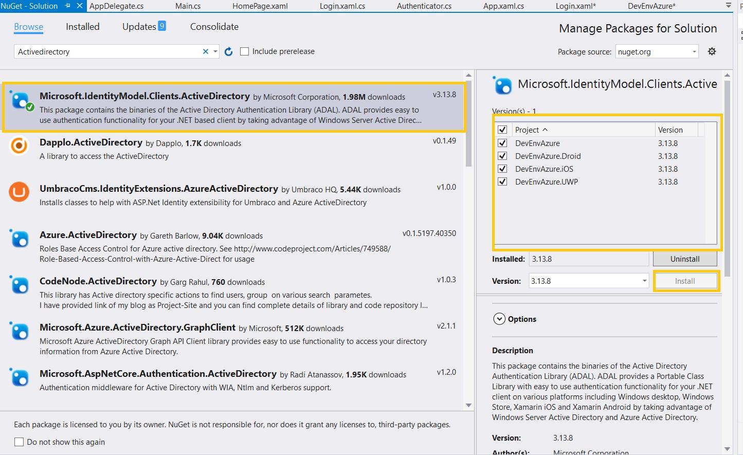 DevEnvExe Com/Xamarin: Azure Active Directory Login using Xamarin Forms