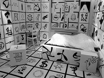 black and white squares room