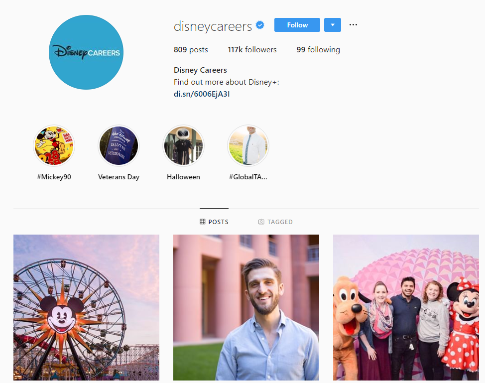 disney instagram recruiting