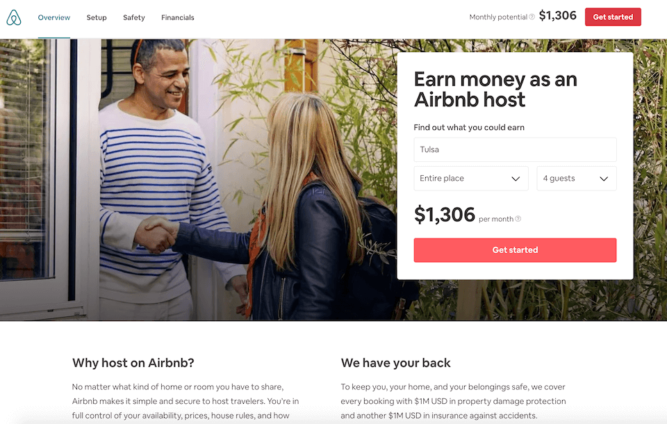 Lead generation landing page Airbnb