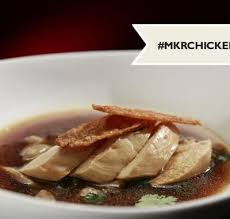 Image result for a nice japanese Inspired poached chicken in mushroom broth with nice crispy brown skin.