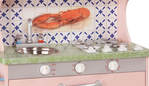 Teamson Kids Wood My Little Chef Pink Retro Pretend Play Kitchen W9953A