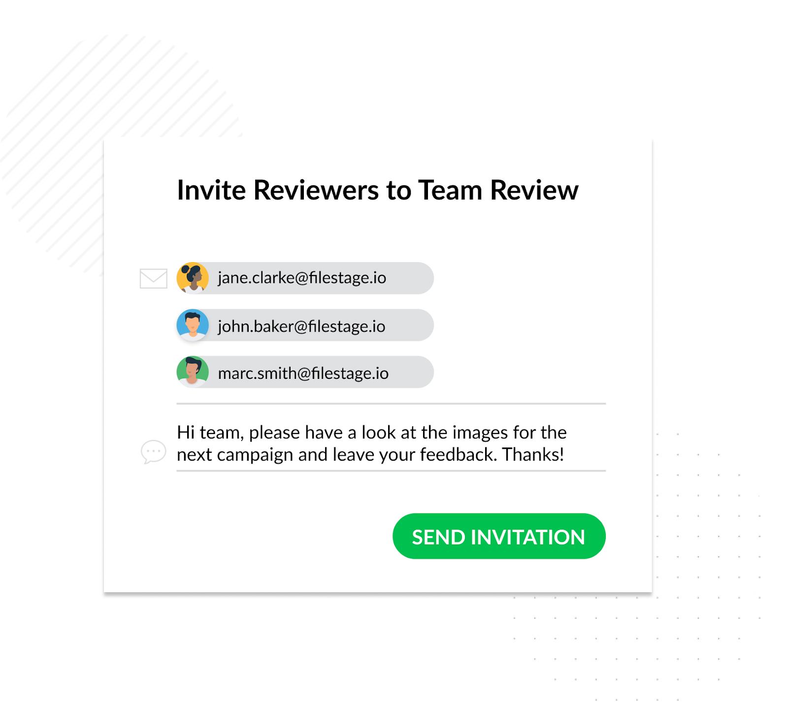invite reviews to team review