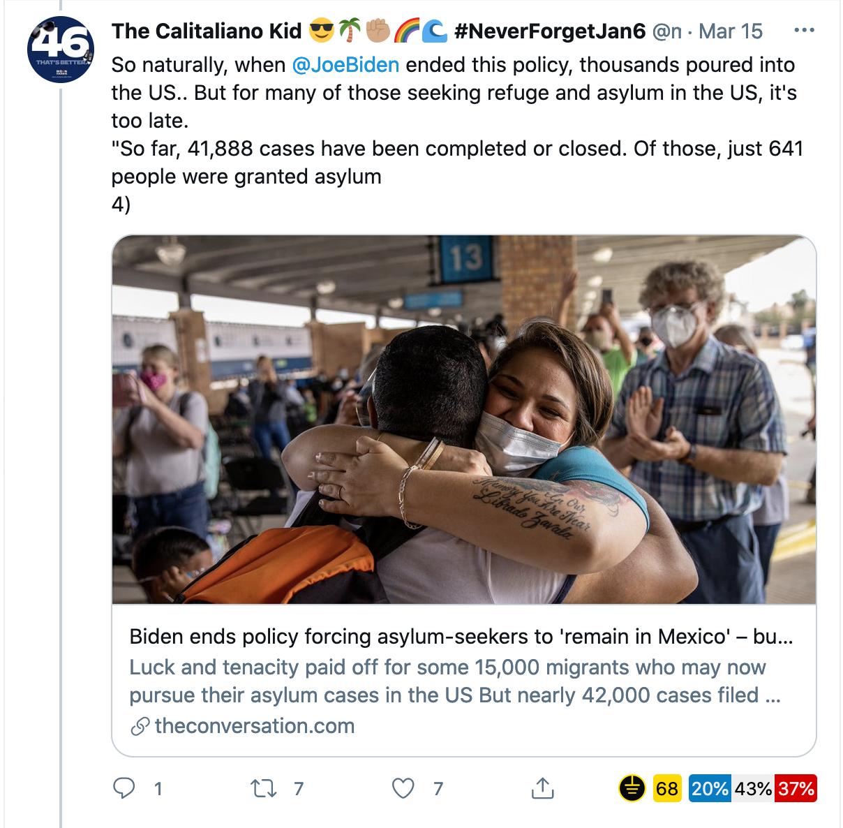 Asylum-seekers celebrate