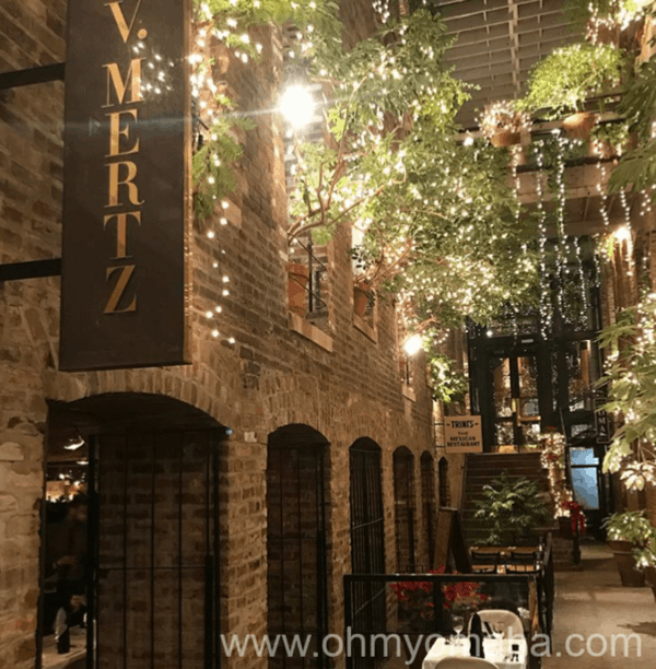 Exterior of V. Mertz, located inside The Passageway in the Old Market