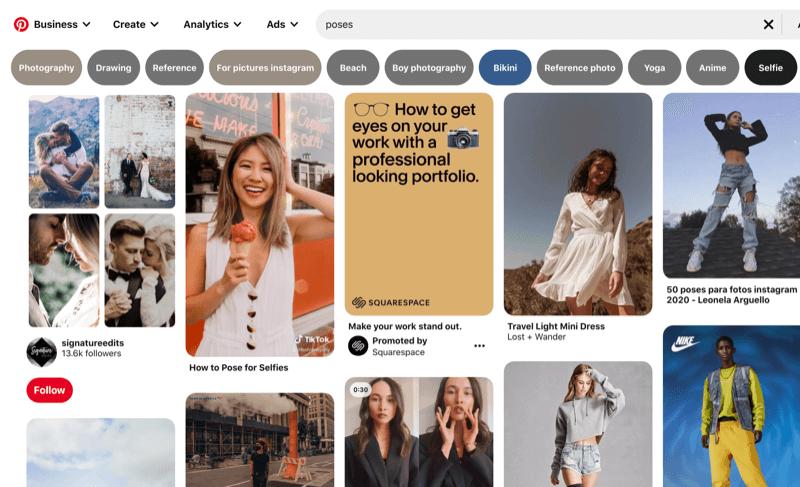 Una captura de pantalla de ejemplo de pines de Pinterest que muestra varios posicionamientos para modelos y selfies al posar