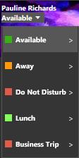Set Status menu options in 3CX Client for Windows.
