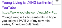 YouTube image of cult claim on Young Living