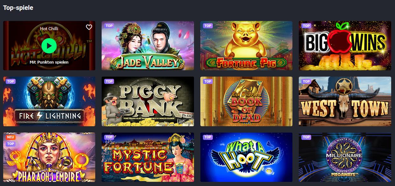 Beliebte Spiele auf der Joo Casino Website