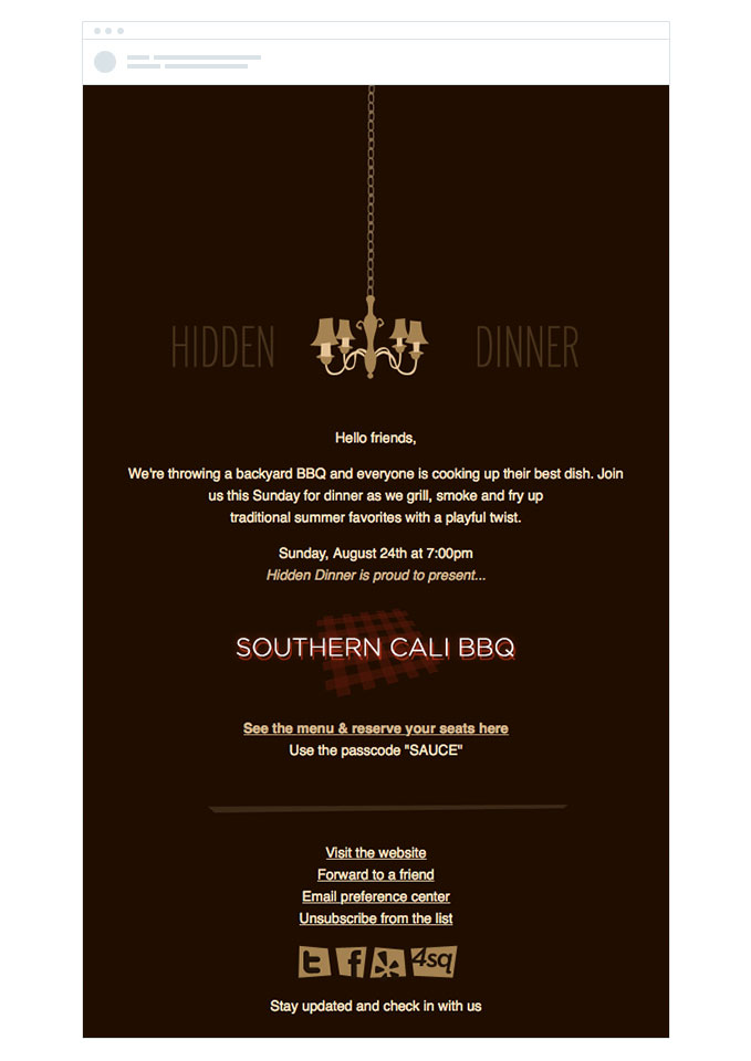Southern Cali BBQ event invitation email design