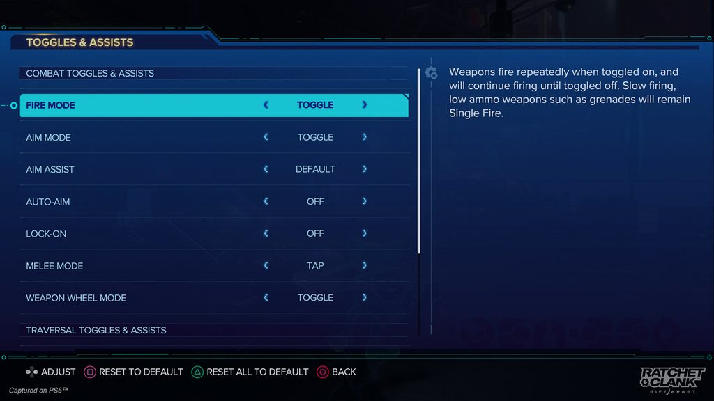 Toggles & Assists menu showing a variety of options: Fire Mode, Aim Mode, Aim Assist, Auto-Aim, Lock-On, Melee Mode, and Weapon Wheel Mode.
